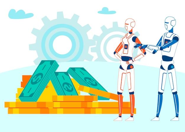 Automatisierte kryptowährungs-bergbau-metapher-karikatur