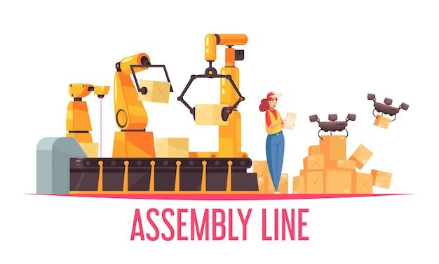 Automatisierte roboter-verpackungsförderer-zusammensetzung mit text- und doodle-bildern von automatischen montagelinien-manipulator-drohnen