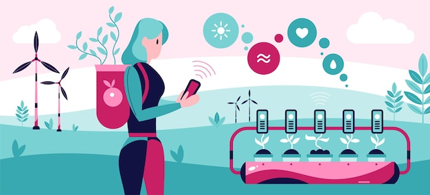 Automatisierte smart garden illustration