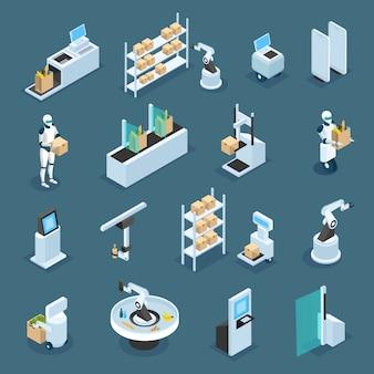 Automatisierte werkstätten mit maschinen und robotern für verschiedene operationen isometrisch