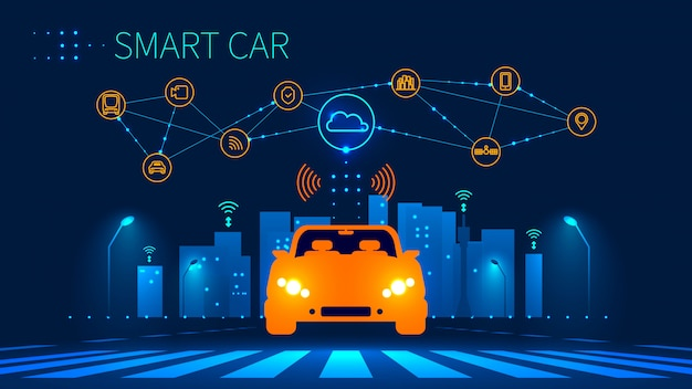 Automatisiertes automobil des zukünftigen konzeptes auf städtischem fußgängerübergang
