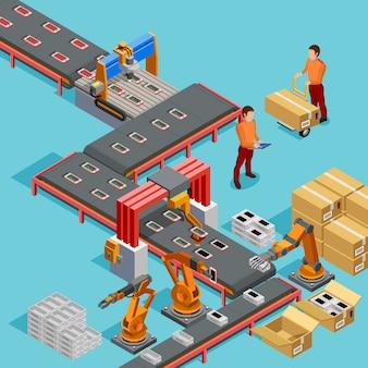 Automatisiertes fabrik-fertigungsstraße-isometrisches plakat