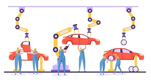 Automatisiertes fließbandautoproduktionskonzept. ingenieur arbeiter in uniform auf autofabrik. roboterarm, der an einem automobilförderer arbeitet.