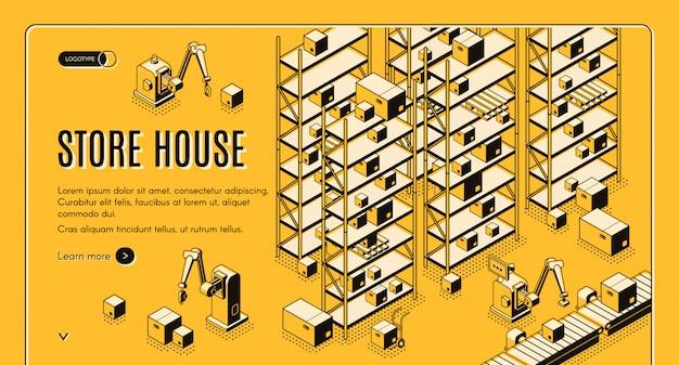 Automatisiertes lagerhaus für fabrik oder geschäft