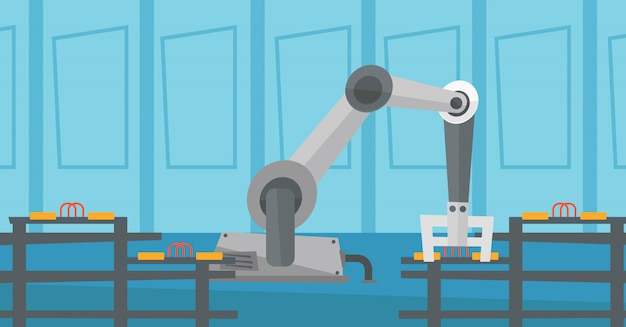 Automatisiertes roboterförderband.