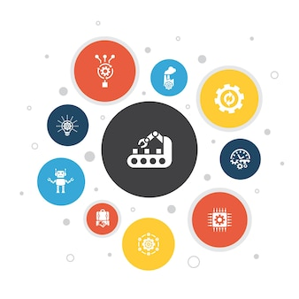 Automatisierung infografik 10 schritte blasendesign. produktivität, technologie, prozess, algorithmus einfache symbole