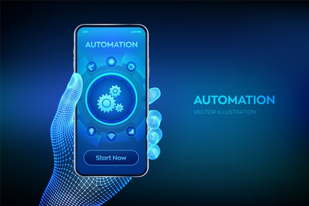 Automatisierungssoftware. iot- und automatisierungskonzept. nahaufnahme smartphone in drahtgitter hand.