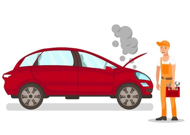 Automechaniker, der auto repariert