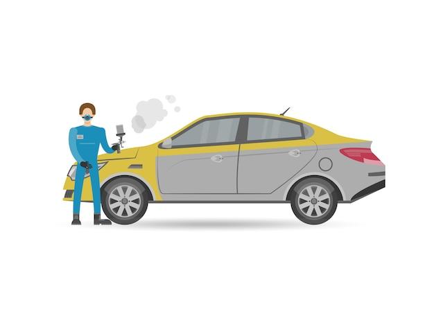 Automechaniker in der einheitlichen autolackierungsikone