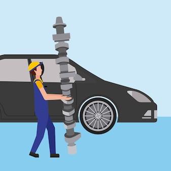 Automechaniker mit pleuelstangen ersatzteil