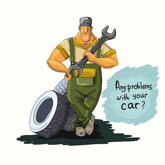 Automechaniker mit schlüssel und reifen