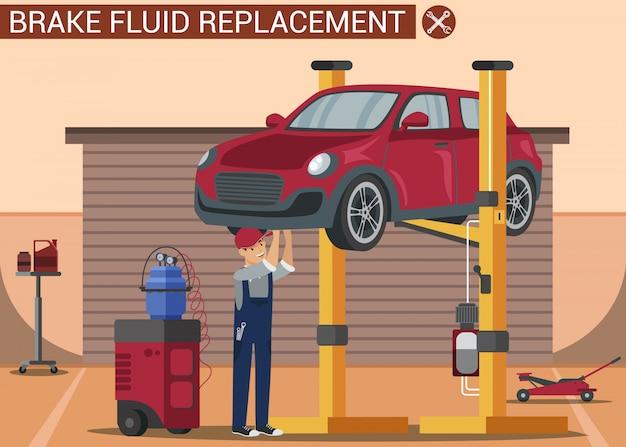 Automechaniker repariert rotes fahrzeug auf aufzug. autowerkstatt