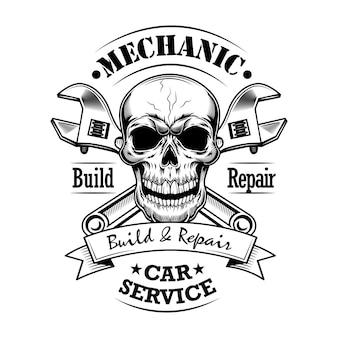 Automechaniker-vektorillustration. monochromer schädel, gekreuzte schraubenschlüssel bauen und reparieren text. autoservice oder garagenkonzept für embleme oder etikettenvorlagen
