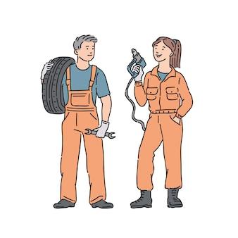 Automechanikerin und -mann im professionellen overall. menschen illustration in strichzeichnungen