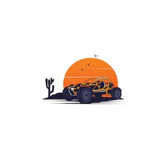 Automobil auf dem wüstenillustrationskonzept