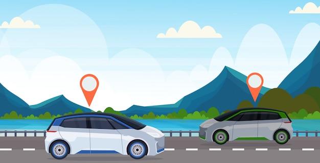 Automobil mit standort pin auf der straße online-bestellung taxi carsharing-konzept mobiltransport carsharing-service berge fluss landschaft hintergrund flach horizontal