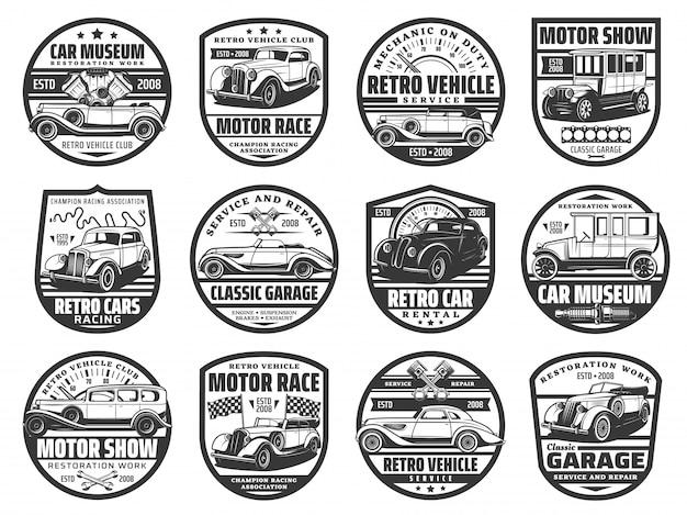 Automobilausstellung, retro-autorennen und museumsikonen