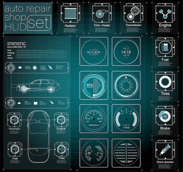 Automotive dashboard der zukunft. hybridauto. diagnose und beseitigung von störungen. blau. hud-stil. bild.