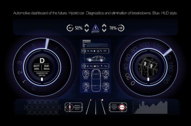 Automotive dashboard der zukunft. hybridauto. diagnose und störungsbeseitigung.