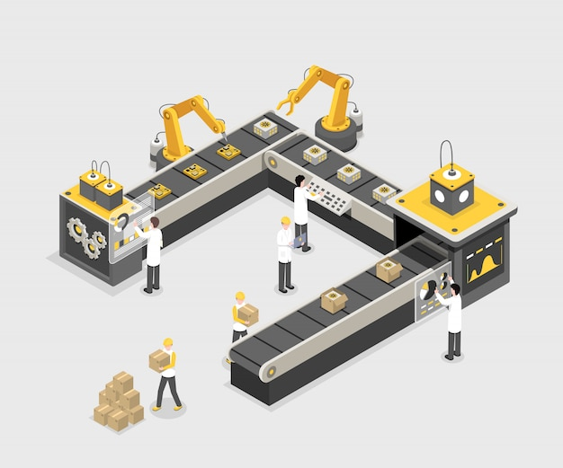 Autonome, programmierte produktionslinie mit arbeitern. moderne fabrik, industrieherstellungsverfahren