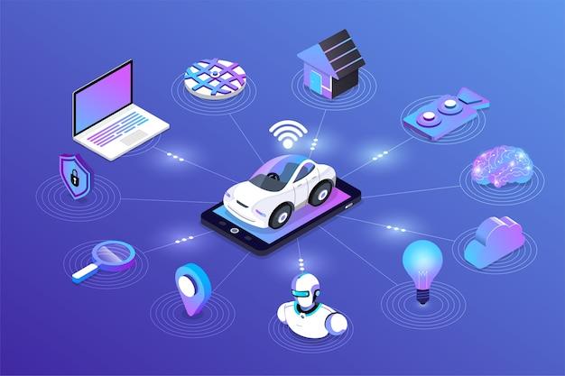 Autonome selbstfahrende automobilsensoren smart car fahrerlose fahrzeugtechnologie