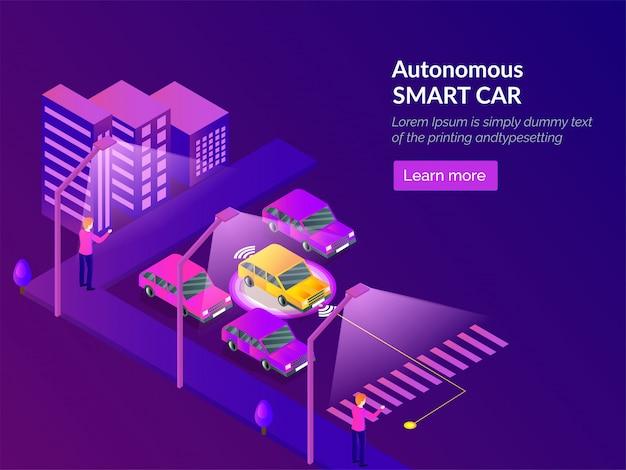 Autonome smart car web template design.