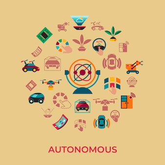 Autonome transporttechnologieikonen eingestellt