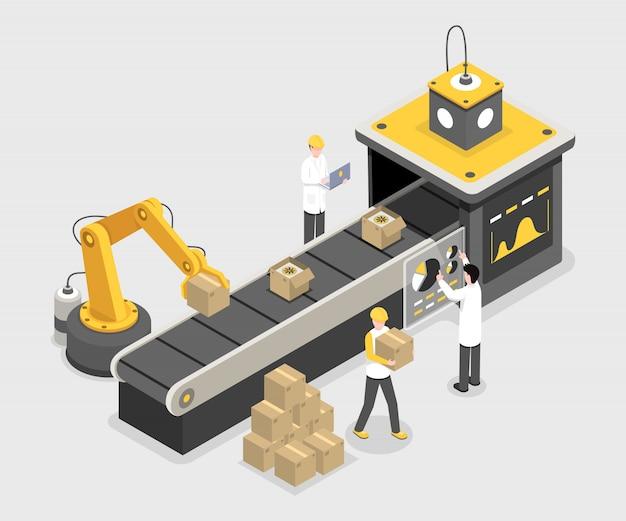 Autonomer verpackungsprozess, endmontage. stapelboxen mit robotertechnologie