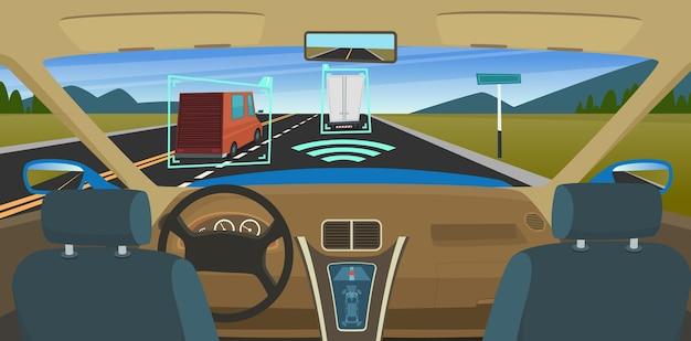 Autonomes auto. feature fahrzeuge neue smart-computer-technologie für sicherheit fahrsensorsysteme hud visual vector konzept. autonomes autosystem, zukünftige illustration des intelligenten antriebs