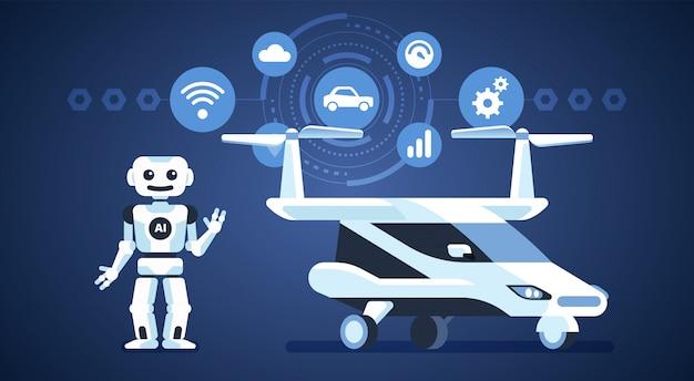 Autonomes auto. fliegender transport. selbstfahrendes auto mit roboter und symbolen. künstliche intelligenz unterwegs.