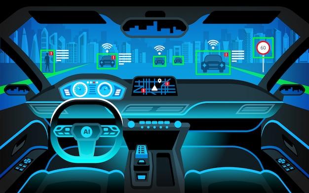 Autonomes intelligentes auto innen. selbstfahrend bei nachtstadtlandschaft. das display zeigt informationen zum fahrzeug an