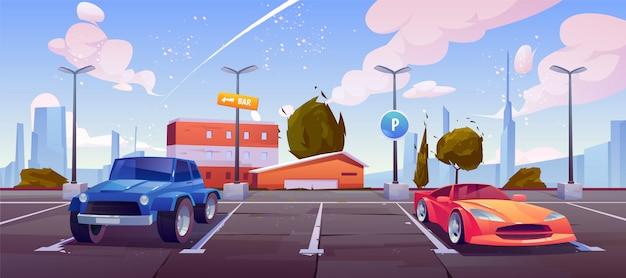 Autoparken auf stadtstraße, luxusautos