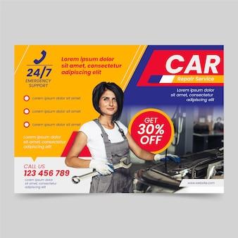 Autoplakatschablone des flachen designs mit foto horizontal