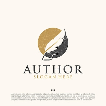 Autor, flügel, bibliothek, logo-design-vorlage