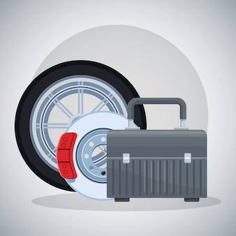 Autoreifen, bremsscheibe und werkzeugkasten
