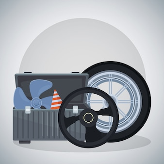 Autoreifen mit lenkrad und werkzeugkasten