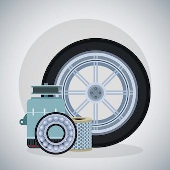 Autoreifen mit lichtmaschine, bremsscheibe und luftfilter