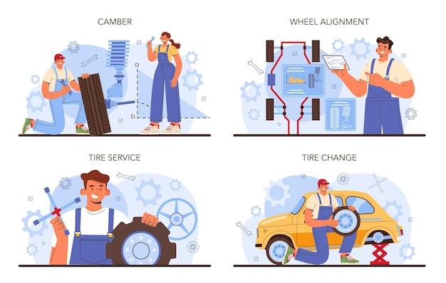 Autoreifen-service-set. arbeiter, der einen reifen eines autos wechselt. sturz- und ausrichtungsdiagnose. mechaniker beim reifenwechsel eines fahrzeugs. flache vektorgrafik