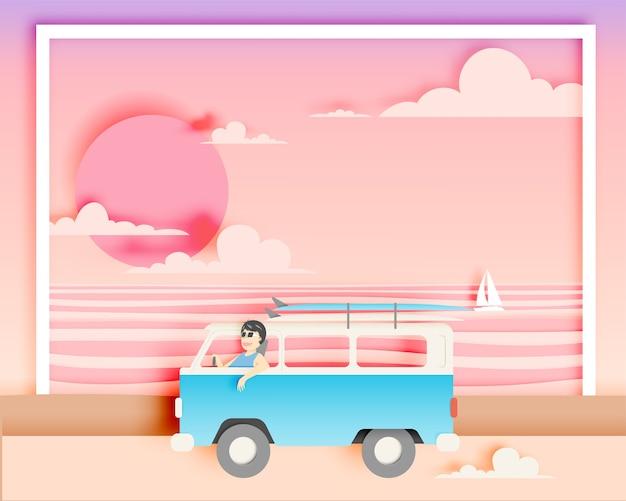 Autoreise auf dem strand mit papierkunstart und pastellfarbschema vector illustration