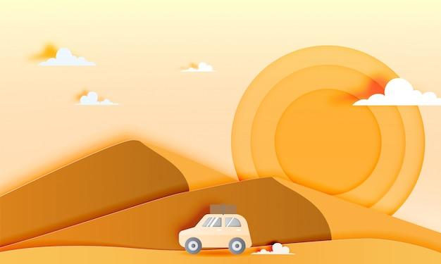 Autoreise in der wüste mit papierkunstart-vektorillustration