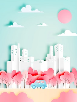 Autoreise mit jahreszeit des autos im frühjahr und natürliches pastellfarbschemahintergrundpapier schnitt artvektorillustration