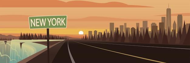 Autoreise-staat new york-zeichen und marksteine