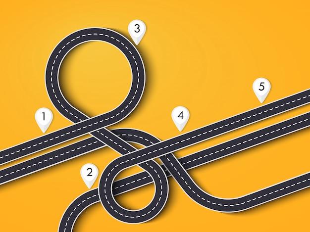 Autoreise und reiseroute auf gelb