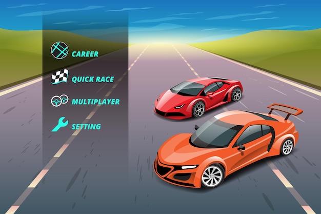 Autorennen-spiel im anzeigemenü