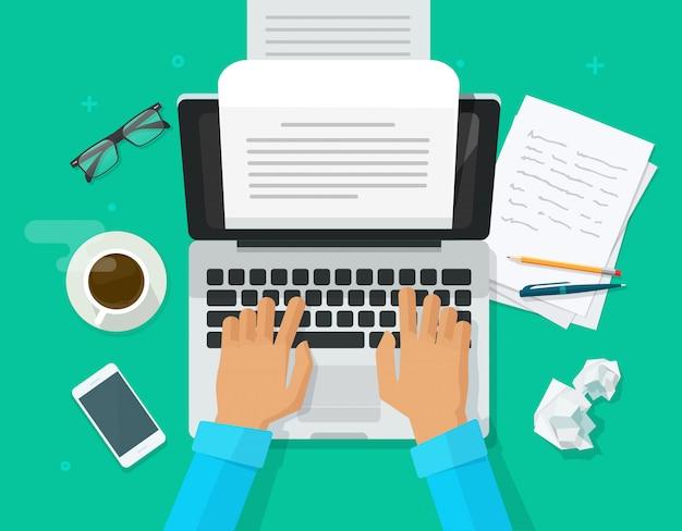 Autorenperson, die inhalt auf computerpapierblattdokument schreibt
