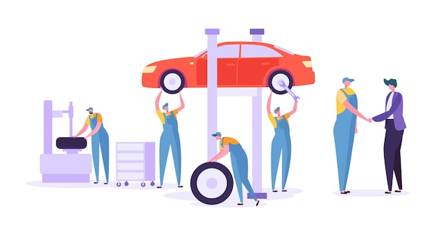 Autoreparatur autowerkstatt. professionelle mechanikercharaktere in einheitlich wechselnden reifen. konzept der technischen wartung von kraftfahrzeugen.