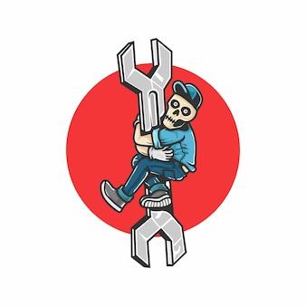 Autoreparatur. menschlicher schädel klettert auf den schraubenschlüssel. gestaltungselemente für plakat, emblem, zeichen, t-shirt. vektorillustration