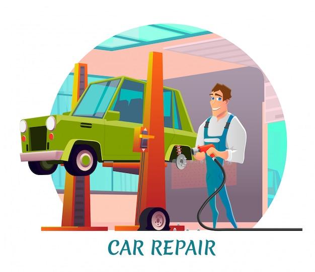 Autoreparatur-service-anzeige mit freundlichem schlosser
