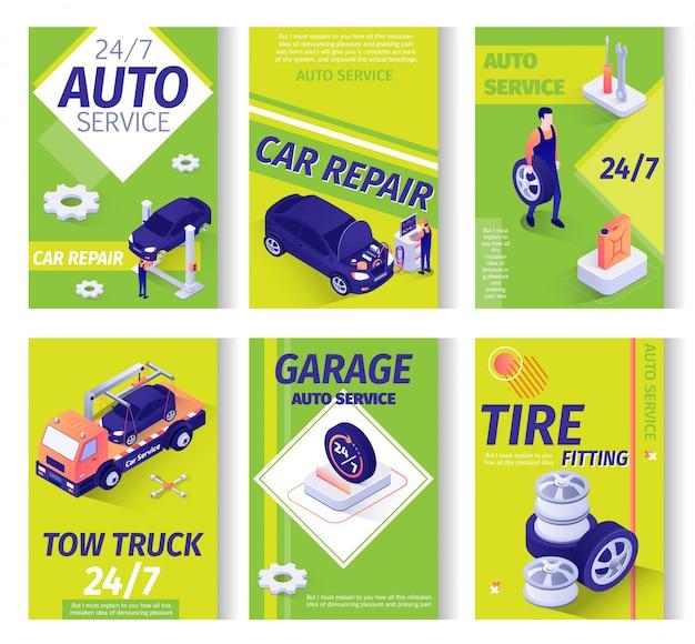 Autoreparatur-service-anzeigen-fahnenschablone