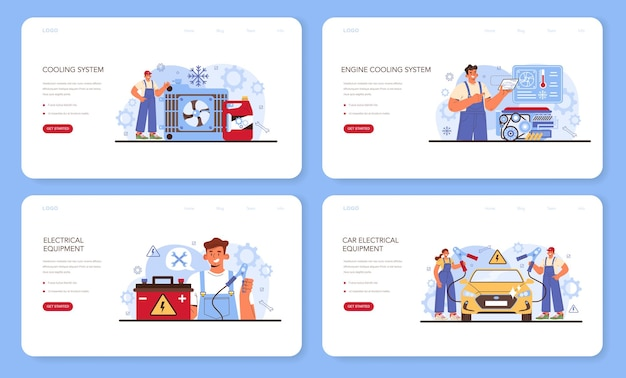 Autoreparatur-service-web-banner oder landing-page-set. autokühlung